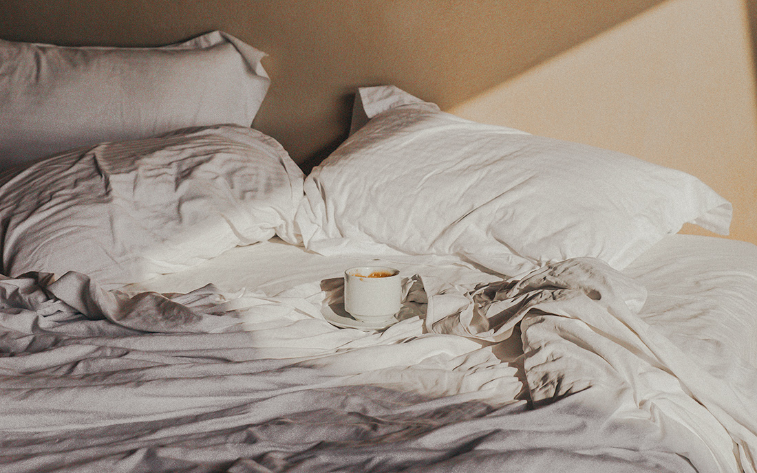 coffee cup in bed