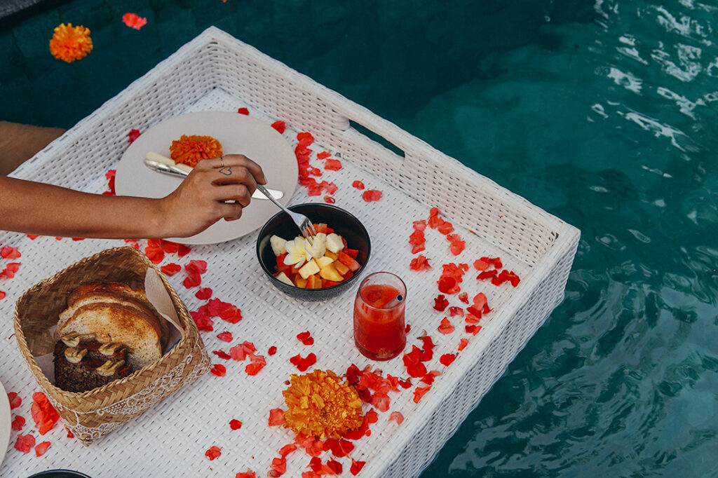 floating breakfast in Ubud